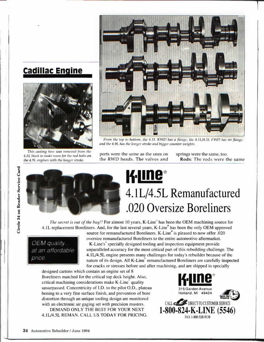 Engine Info 49l Cadillac V8 Fieroaddiction Redux Tuned Port Injection Wiring Harness Scans From Automotive Rebuilder June 1994